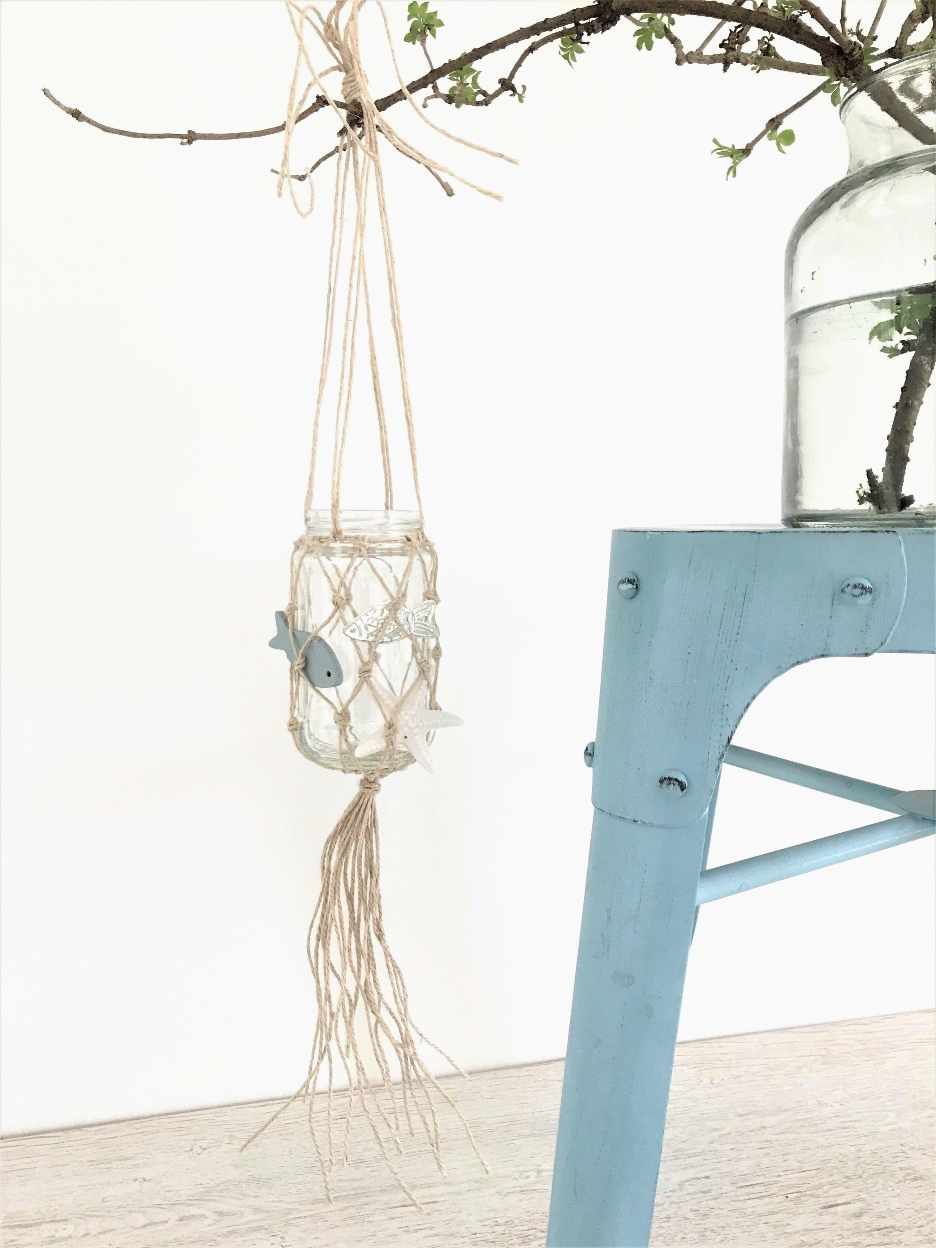 Diy makramee sommerdeko/ weckglas mit fischernetz als windlicht oder vase - chalet8