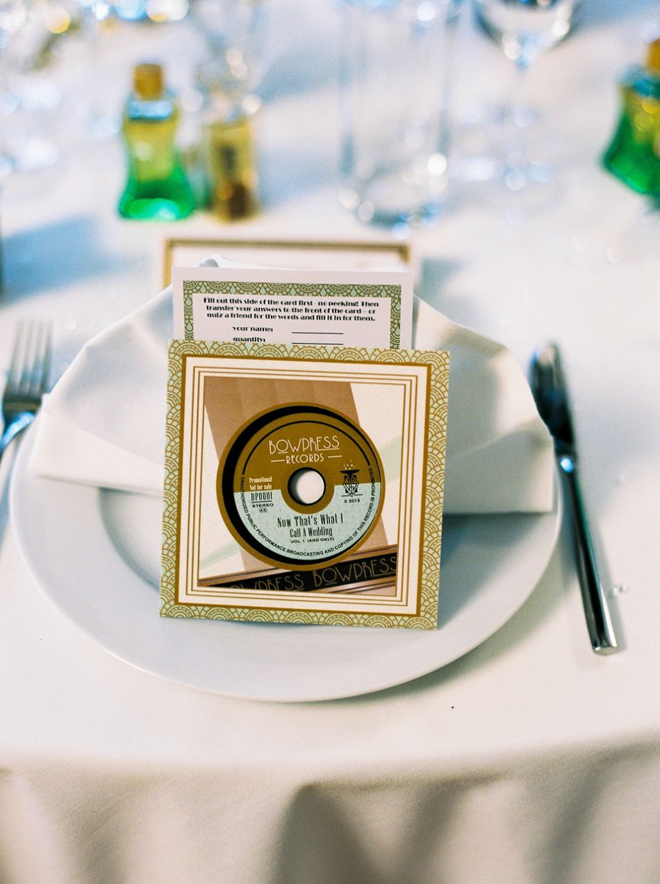 A 1930s art deco inspired london wedding cd wedding favors favors a art deco inspired wedding at the assembly rooms in london images shot on film by peachey photography junglespirit Gallery