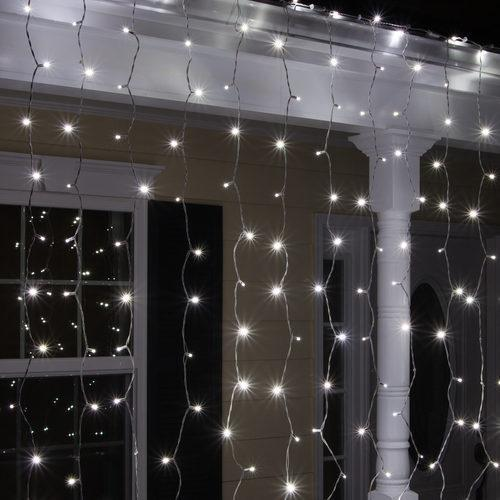 5mm Cool White Led Light Curtain 6 X 6 White Wire In 2020 Led Icicle Lights Led Curtain Lights Icicle Lights