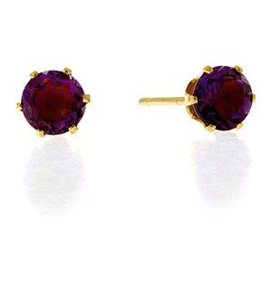 Amethyst 4mm 9K Yellow Gold Earrings - Item B3504.  #thediamondstoreuk #amethystearrings #amethyst #earrings #diamonds