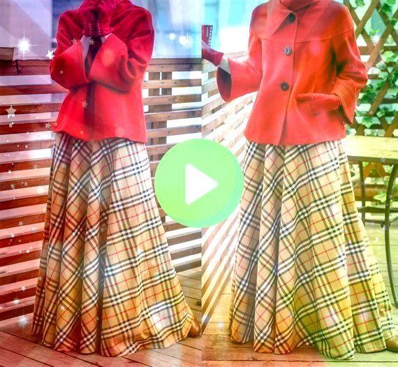 Plaid Maxi Skirt Tartan Long Woman Skirt Maxi Skirt with pocketsHight Waist Skirt Wi Beige Plaid Maxi Skirt Tartan Long Woman Skirt Maxi Skirt with pocketsHight Waist Ski...