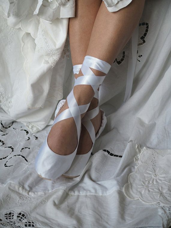 White Satin Bridal Ballet Slippers White By Hopefullyromantic