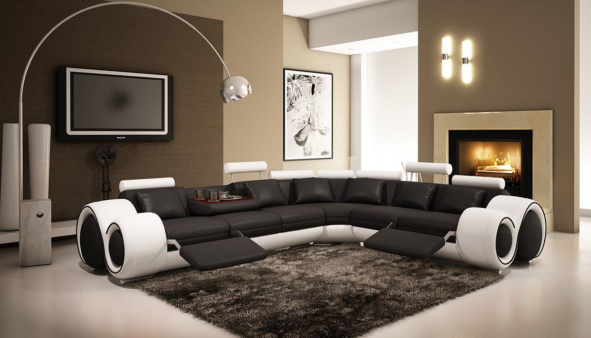 Amazon Com 4087 Black White Bonded Leather Sectional Sofa With