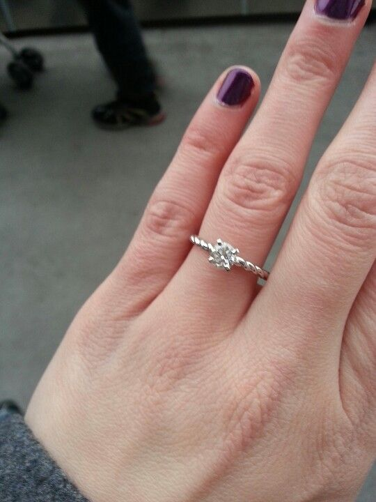 Half Carat Solitaire With A Thin Twisted Band This Is My