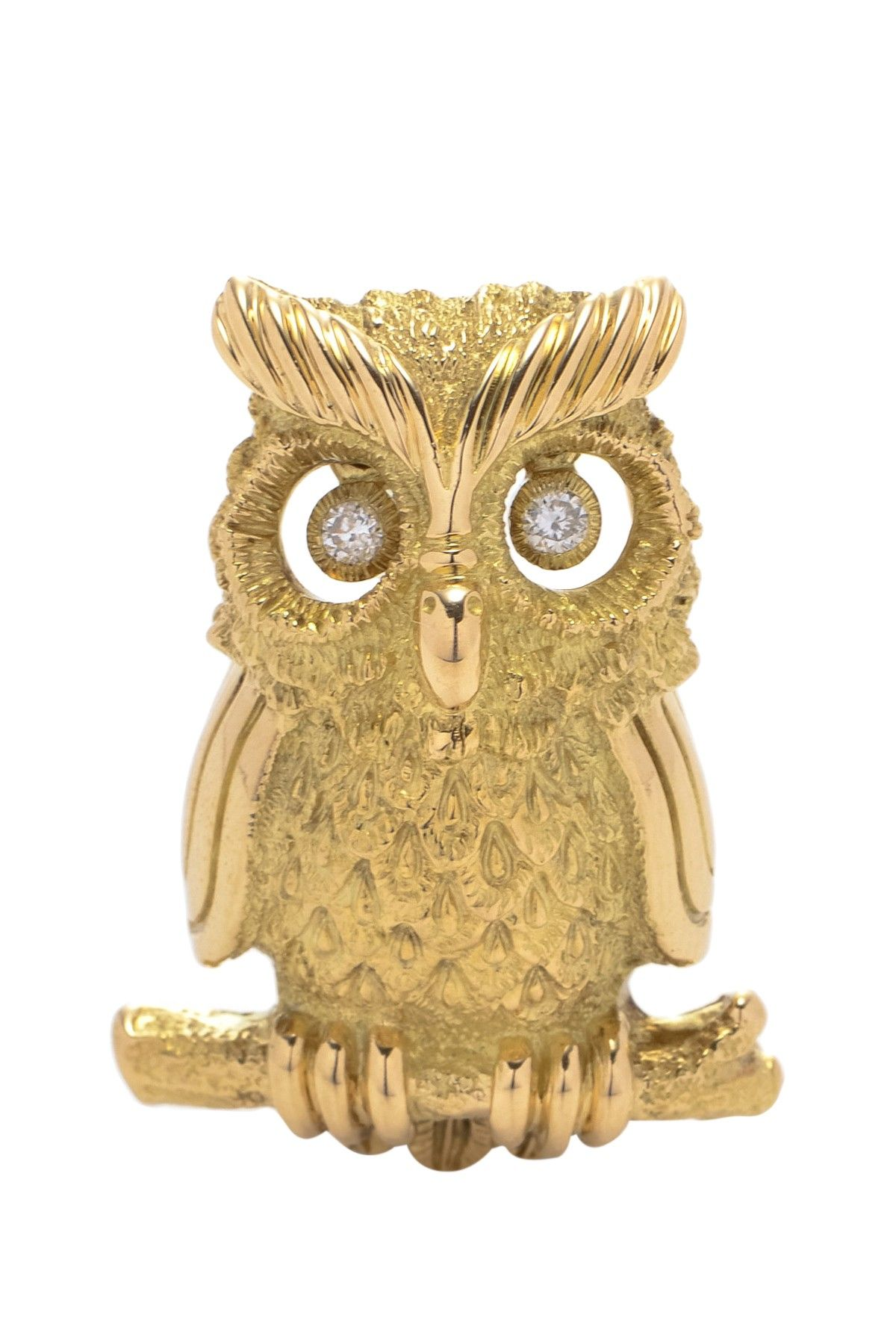 Vintage Estate Jewelry 18K Gold Diamond Owl Brooch - 0.07 ctw