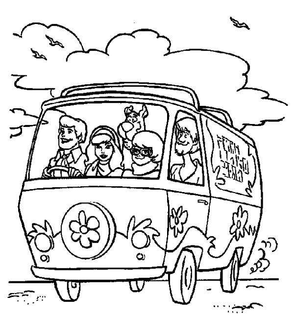 Freds Driving Mystery Machine Car Scooby Doo Coloring Pages Best Place To Color Scooby Doo Coloring Pages Vintage Coloring Books Cartoon Coloring Pages