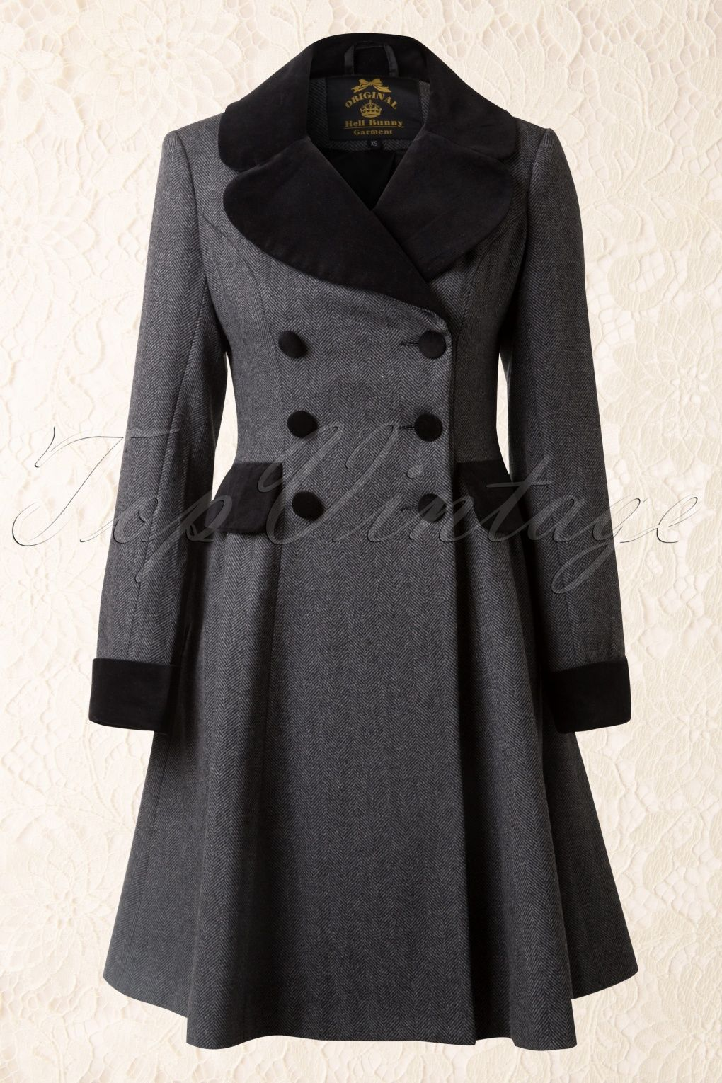 50s Amazon Swing Coat in Grey and Black Wool | Mäntel, 50er jahre ...