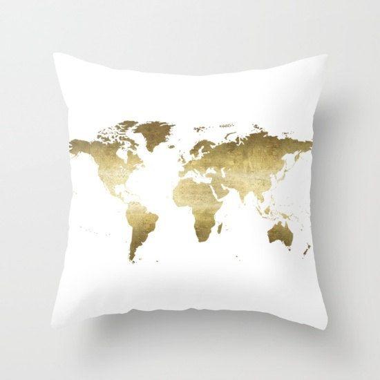 World Map Pillow Gold Pillow Cover Globe Map Pillow Continent Map