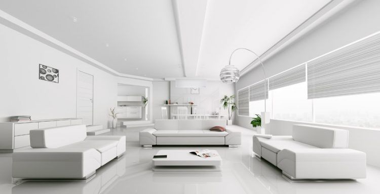 20 Beautiful All White Living Room Ideas Modern White Living