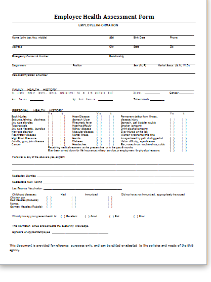Perfect Health Assessment Form At Http://www.bestmedicalforms.com/health Assessment  Forms.html