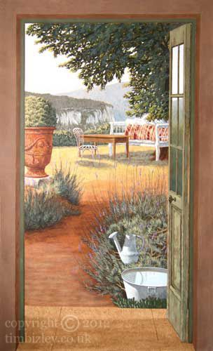 Trompe l oeil murals painted trompe l 39 oeil mural view of for Deco trompe l oeil mural