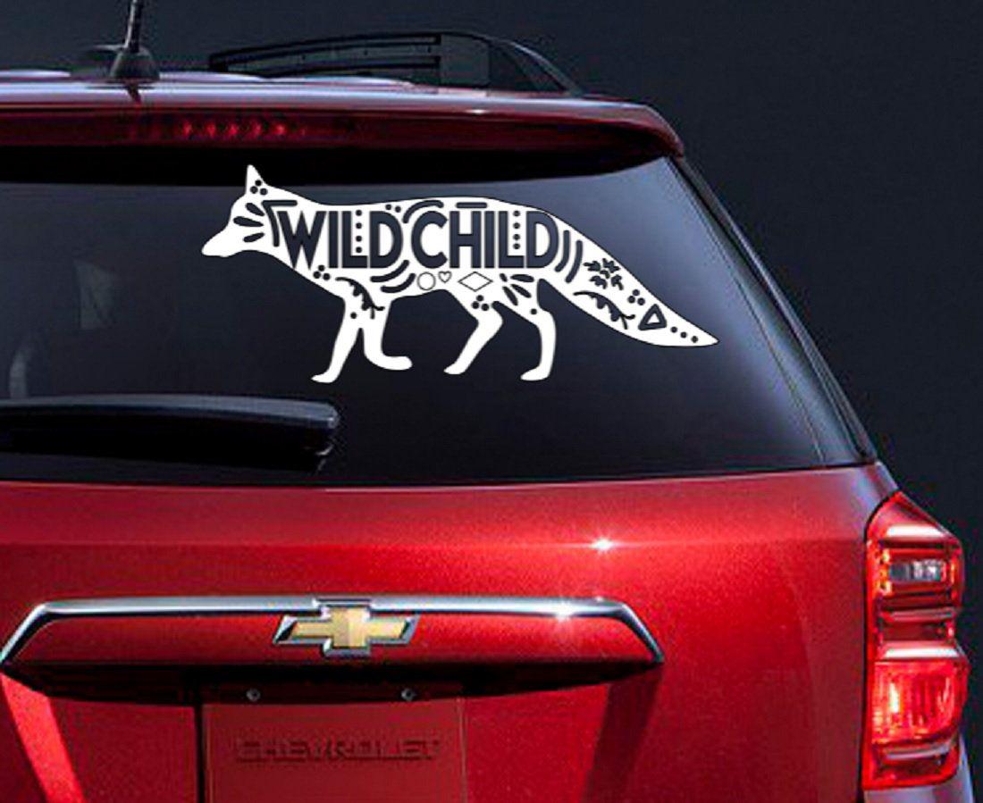 Wild Child Fox car decal, Fox bumper sticker, Fox wild