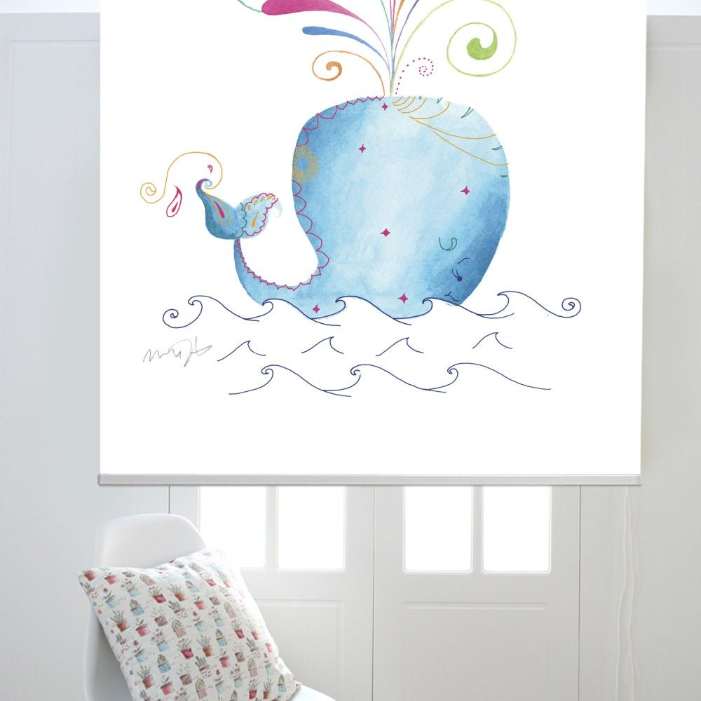 Window Treatments Interiordesign: The Whale Printed Roller Blind #rollerblinds #homedecor