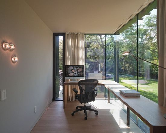 Furniture amazing open plan garden view from the modern home office design with wide glass wall long wooden desk and black chair wall lighting stunning