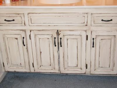 "Veryyyyyyyyyyry distressed cabinets - Distressed kitchen, Distressed cabinets, Distressed kitchen cabinets, Kitchen renovation, Kitchen furniture, Cabinet - I wish I could show you all a ""BEFORE"" shot of these cabinets  They were plain white  The paint was chipping  They were beat up  They were scratched up  They were far from perfect! We could have sanded them  And filled  And sanded  And primed  And painted  And etc  But this client didn't want us …"
