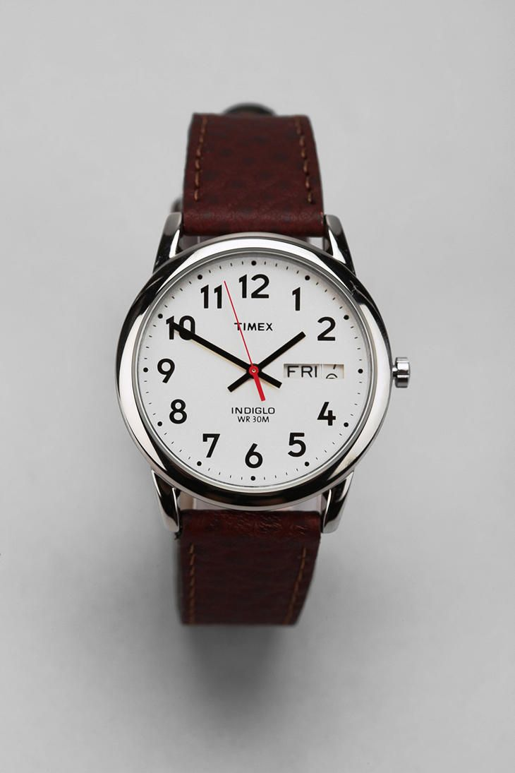 Timex Brown Leather Easy Reader Watch  UrbanOutfitters  be617039a9
