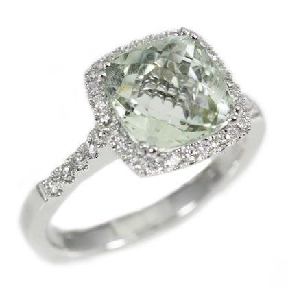 Awesome 18K White Gold 3.24Ct Green Quartz Cushion Cut Ladies Ring Amazing Ideas