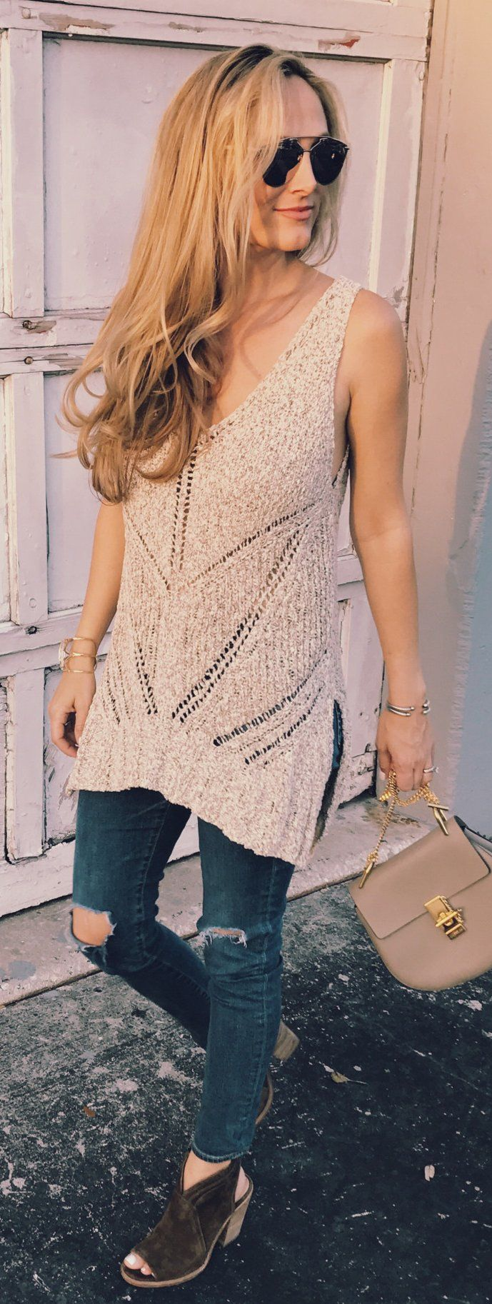 #spring #fashion /  Beige Sleeveless Knit / Destroyed Skinny Denim / Black Suede Open Toe Booties