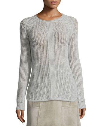 Long-Sleeve+Knit+Cashmere+Sweater,+Gray+by+Derek+Lam+at+Bergdorf+Goodman.
