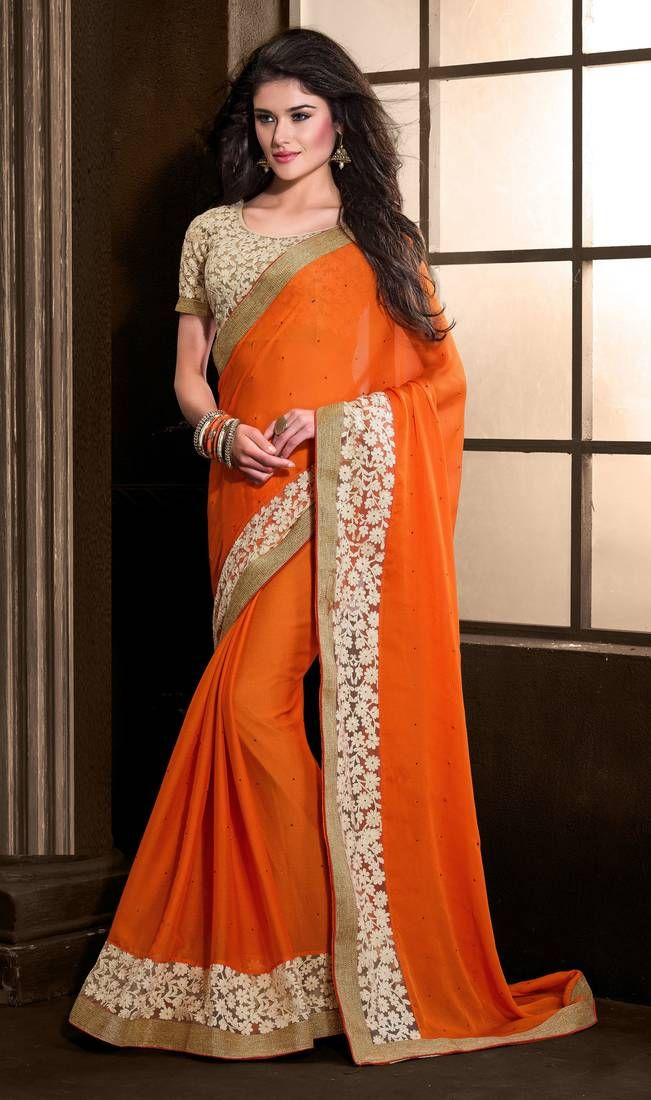 c753753d4c Buy Orange embroidered chiffon saree with blouse with upto 70% Off Designer Sarees  Collection,