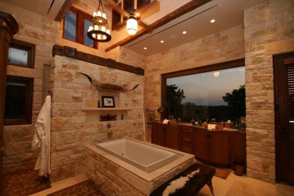 badezimmer natursteinwand badewanne steinverkleidung rustikal, Design ideen