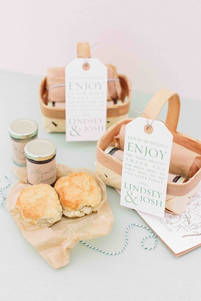 Homemade Biscuits And Jam In Mini Baskets Palmetto Bluff Wedding