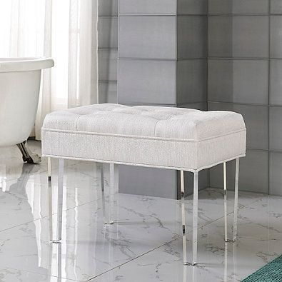 Delray Vanity Bench In Pearl Bathroom Vanity Stool Vanity Seat