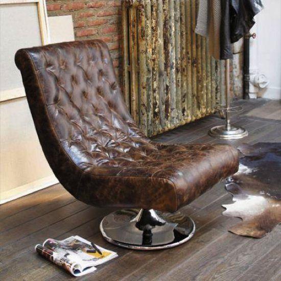 Du Mobilier Style Vintage Et Industriel Abordable Fauteuil Cuir - Fauteuil cuir marron design
