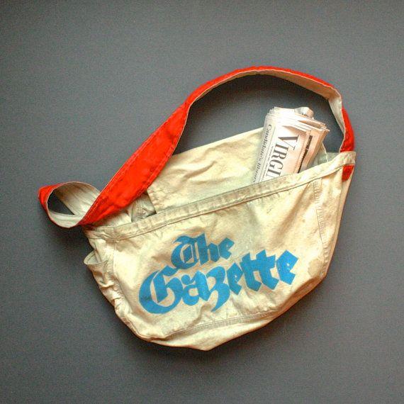 Vintage Newspaper Bag The Gazette Newspaper Delivery Bag Shoulder Bag Newspaper Bags Bags Delivery Bag