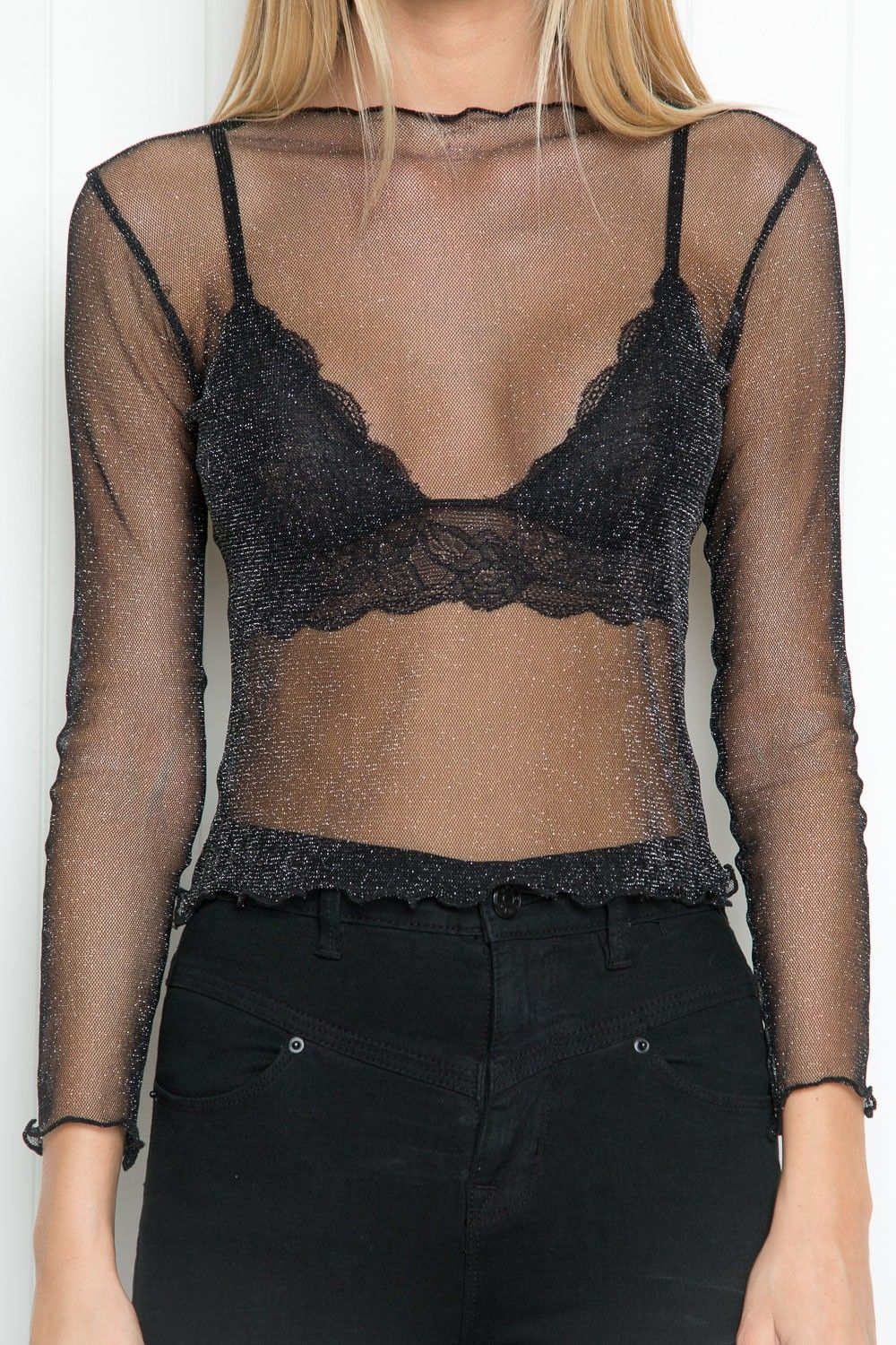 294a7680a551 Brandy ♥ Melville | Rene Glitter Top - Long Sleeves - Tops - Clothing