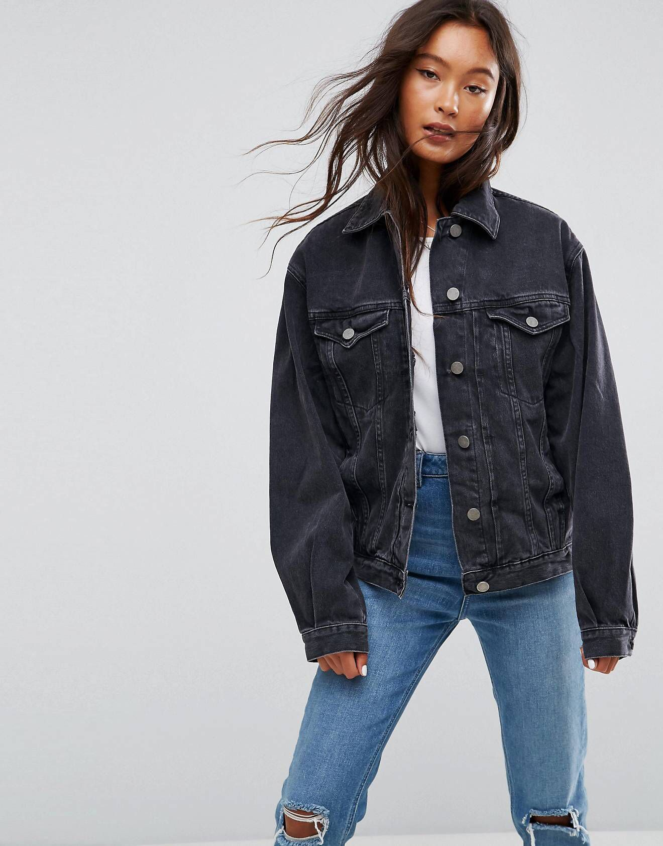 Love This From Asos Black Denim Jacket Outfit Black Denim Jacket Oversized Black Denim Jacket
