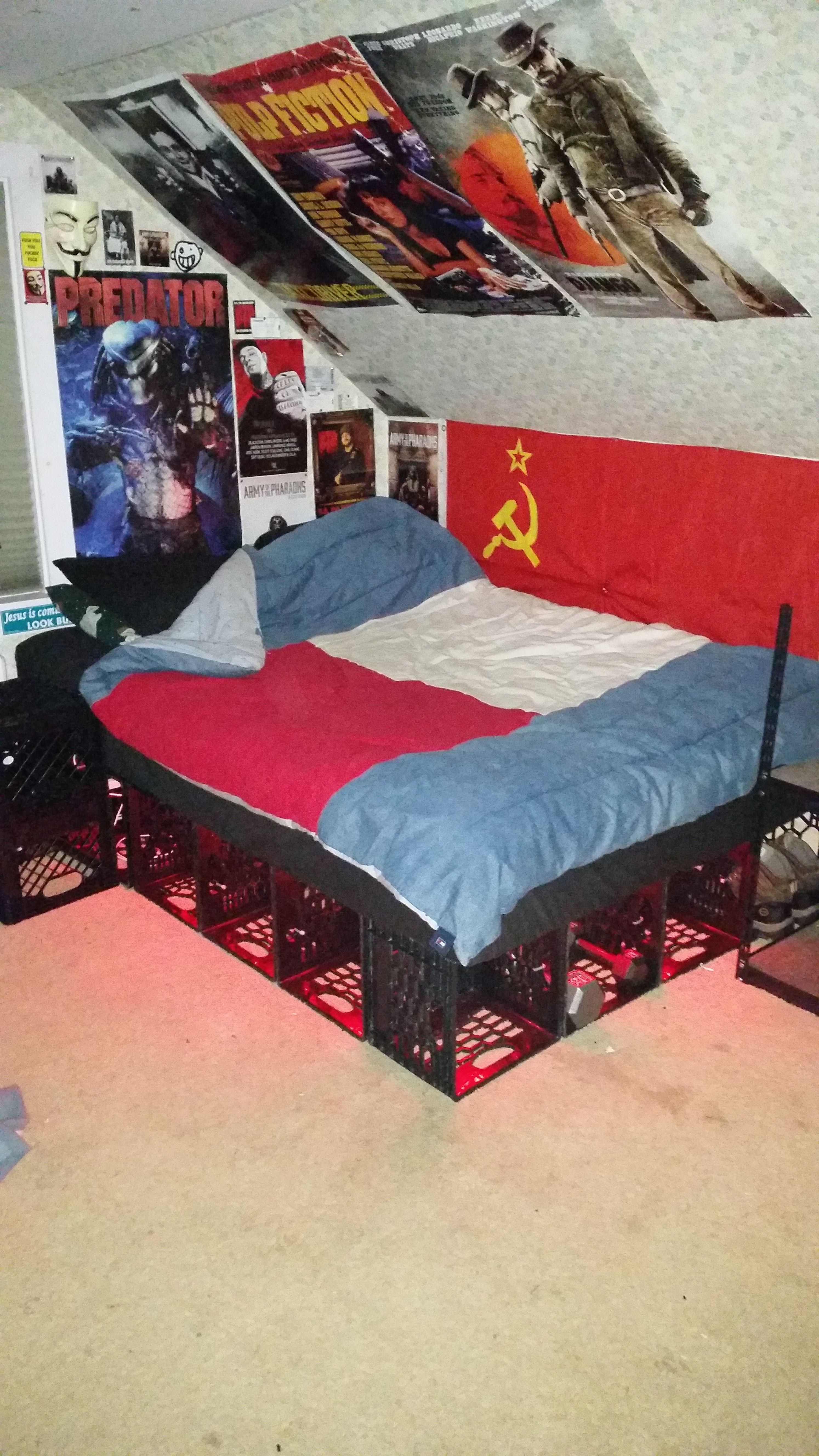Milk Crate Bedframe. Adds under bed storage