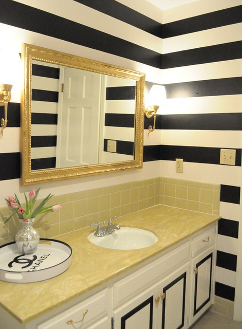 Silver White Gold Bathroom Inspiration Gold Stripes Instead Of