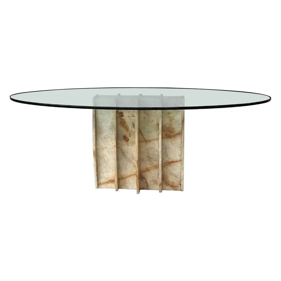 Sculptural Marble And Glass Top Oval Dining Table Oval Table Dining Dining Table Marble Dining Table