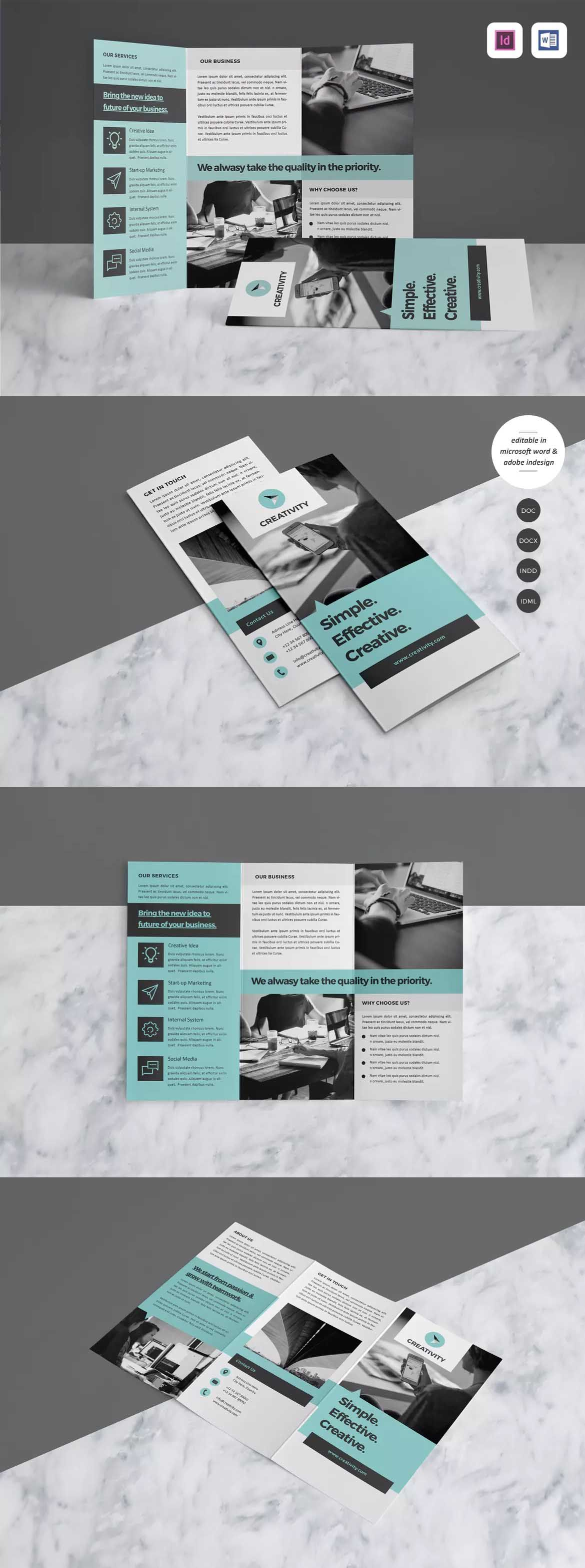 Trifold Brochure Template Indesign Indd A4 Pinterest