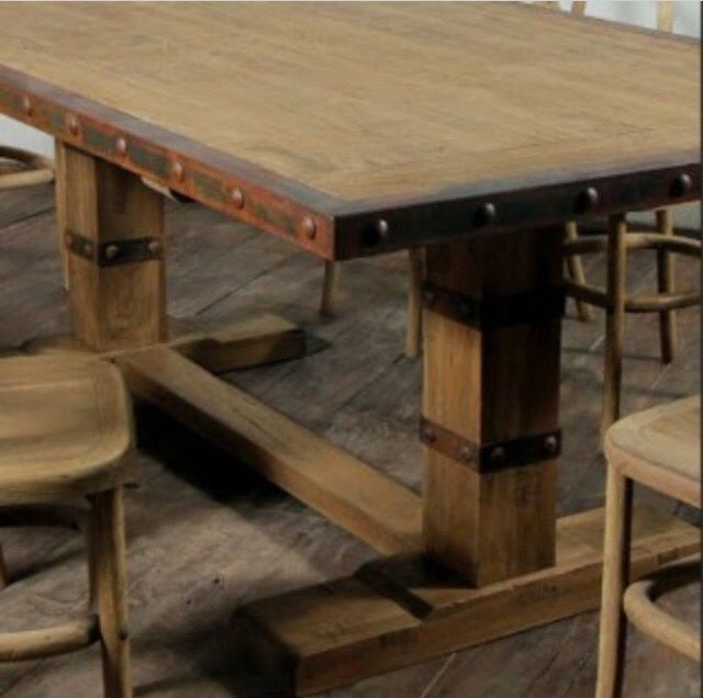 Rusty Metal Trimmed Farm Table Dining Table Metal Dining Table