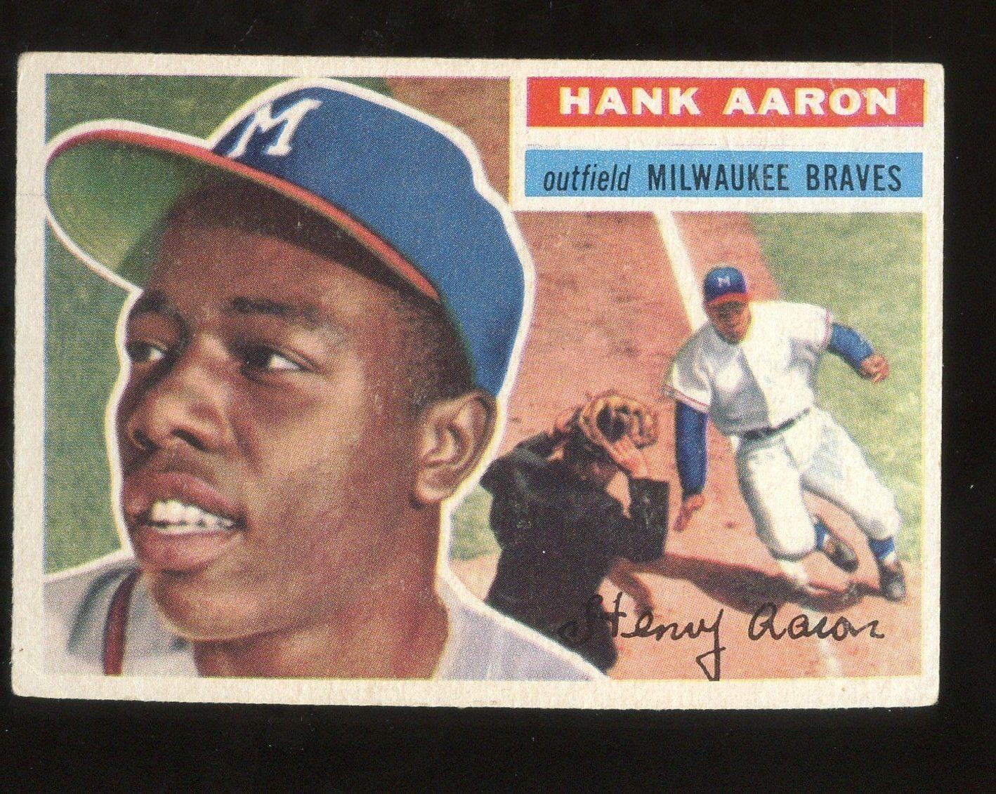 1956 Topps 31 Hank Aaron Milwaukee Braves Hof White Back Baseballcards Hank Aaron Baseball Cards Baseball Cards For Sale