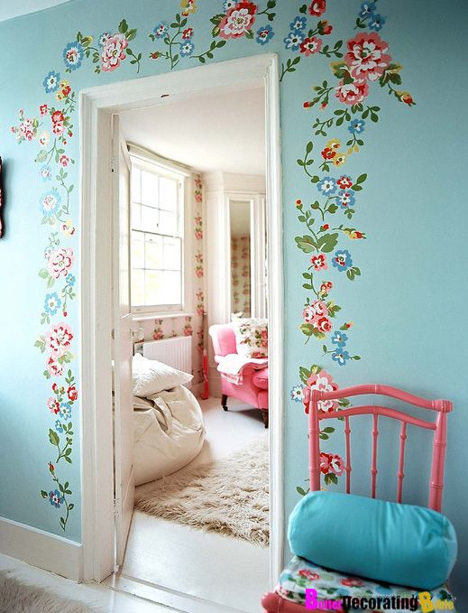 Betterdecoratingbible.com  I want a folk art touch for my home. Why not this floral on blue walls..... ooooohhhhh...