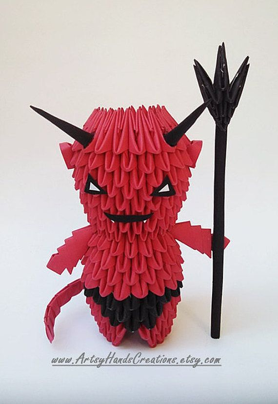 3d Origami Halloween Devil By ArtsyHandsCreations