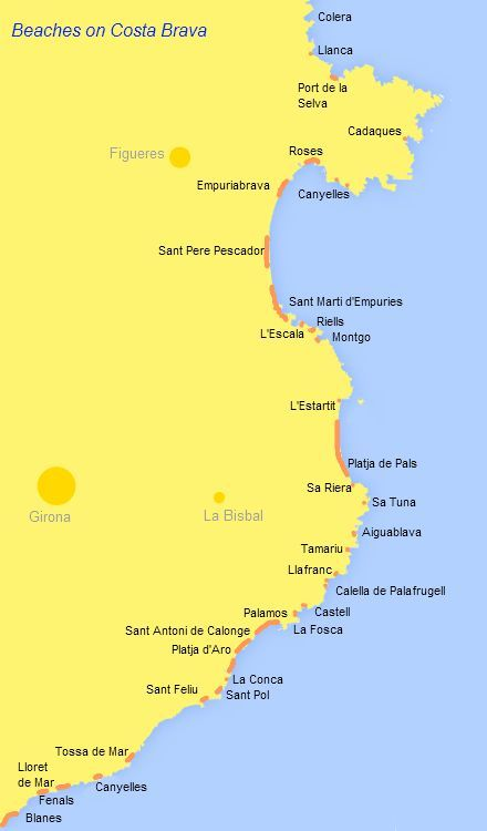 Costa Brava Map Of Spain.Beaches On The Costa Brava Location Map For The Main Bays And