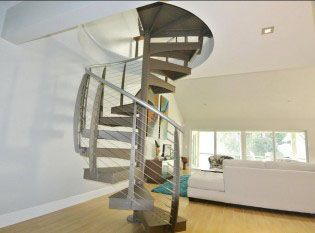 Close Up Of Cable Spiral Stairs Cable Railing Spiral