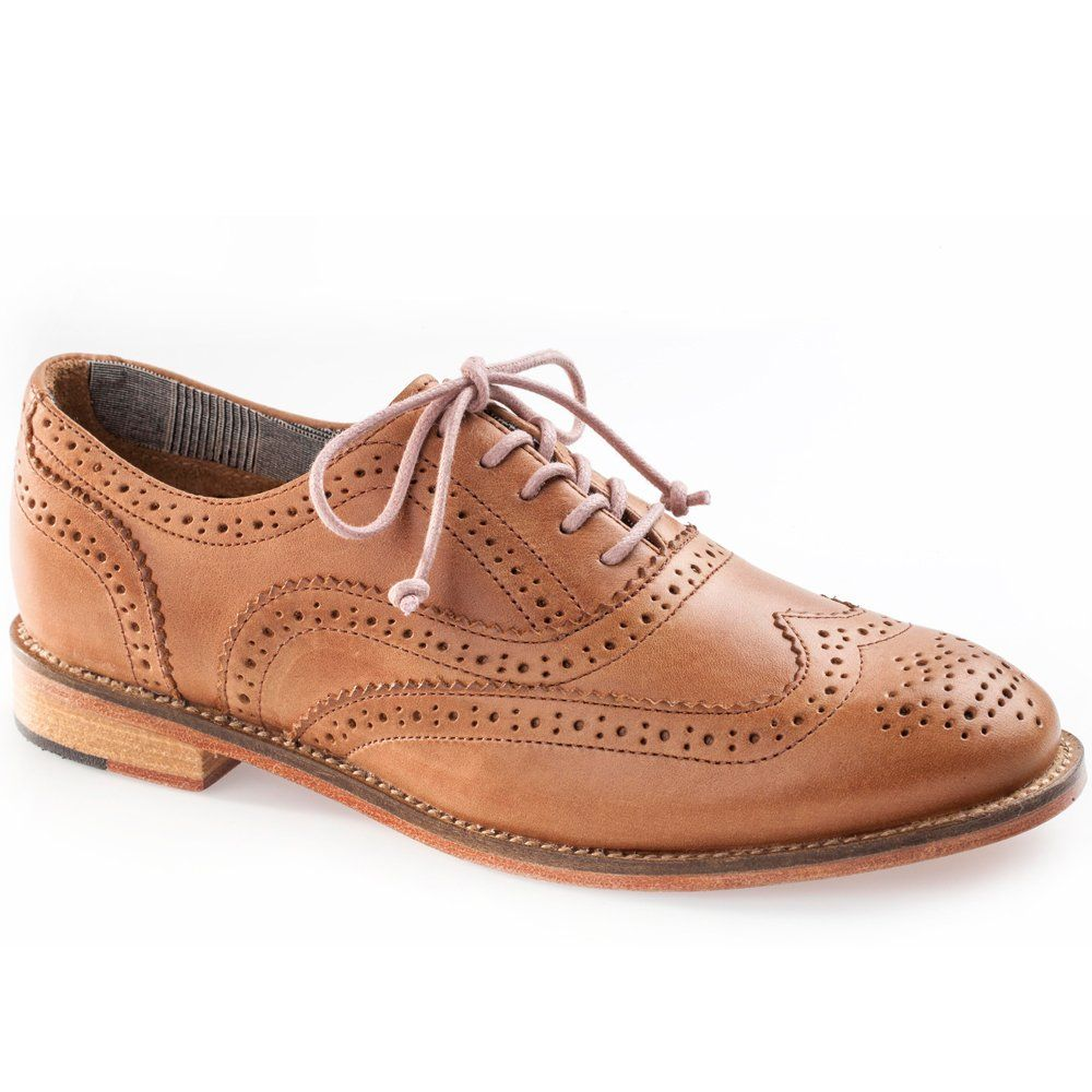 J Shoes Charlie Women's Dark Tan Leather Brogues CUTE tan day shoes like  this- for wear with shorts/capris