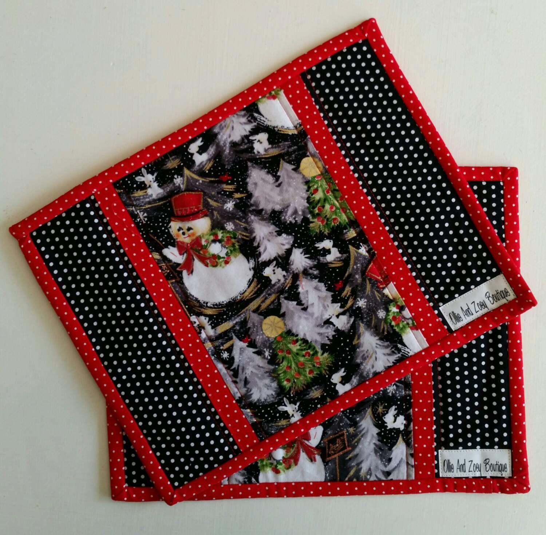 Christmas mug rug holiday snack mat handmade