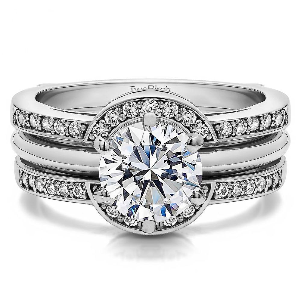 Diamond Halo Princess Engagement Wedding Ring Guard Enhancer By Twobirch
