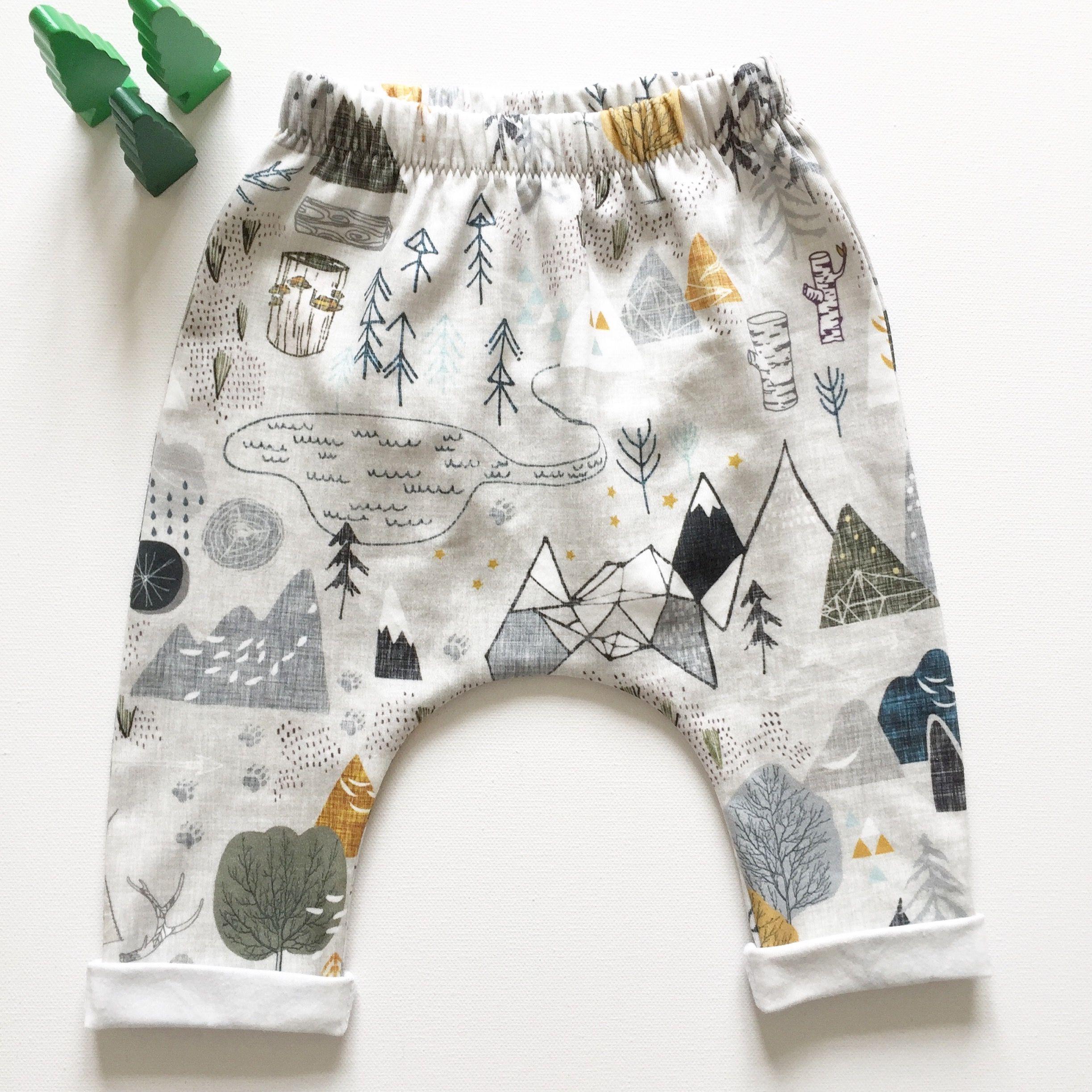 Mountains Print organic cotton jersey leggings Handmade baby