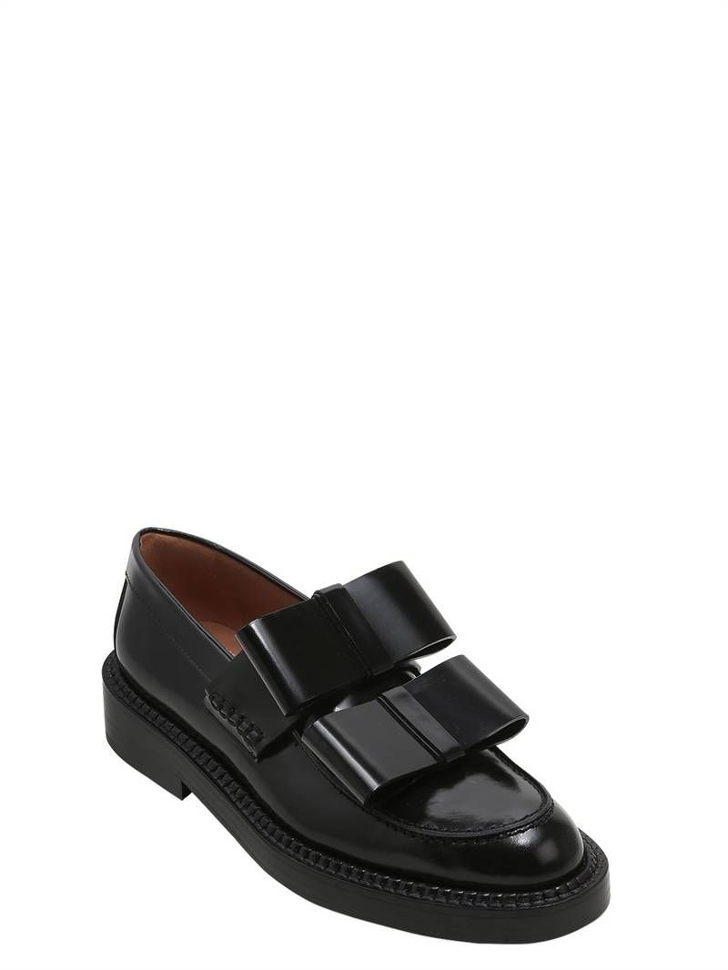 Marni 40MM BOWS LEATHER LOAFERS A3lhJ