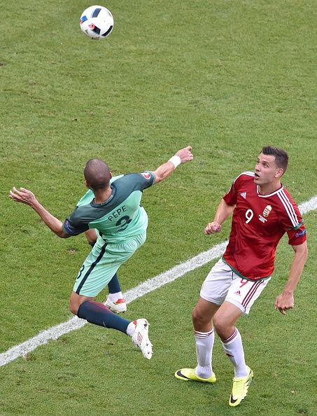 #EURO2016 Portugal's defender Pepe vies with Hungary's forward Adam Szalai during the Euro 2016 group F football match between Hungary and Portugal at the Parc...