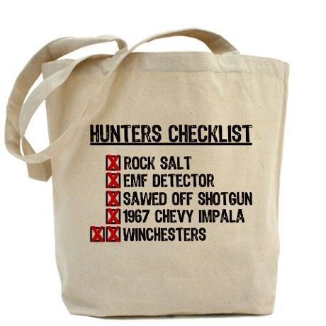 #Supernatural Tote Bag The oh-so important hunter's checklist. (I'll forgive the lack of an apostrophe).