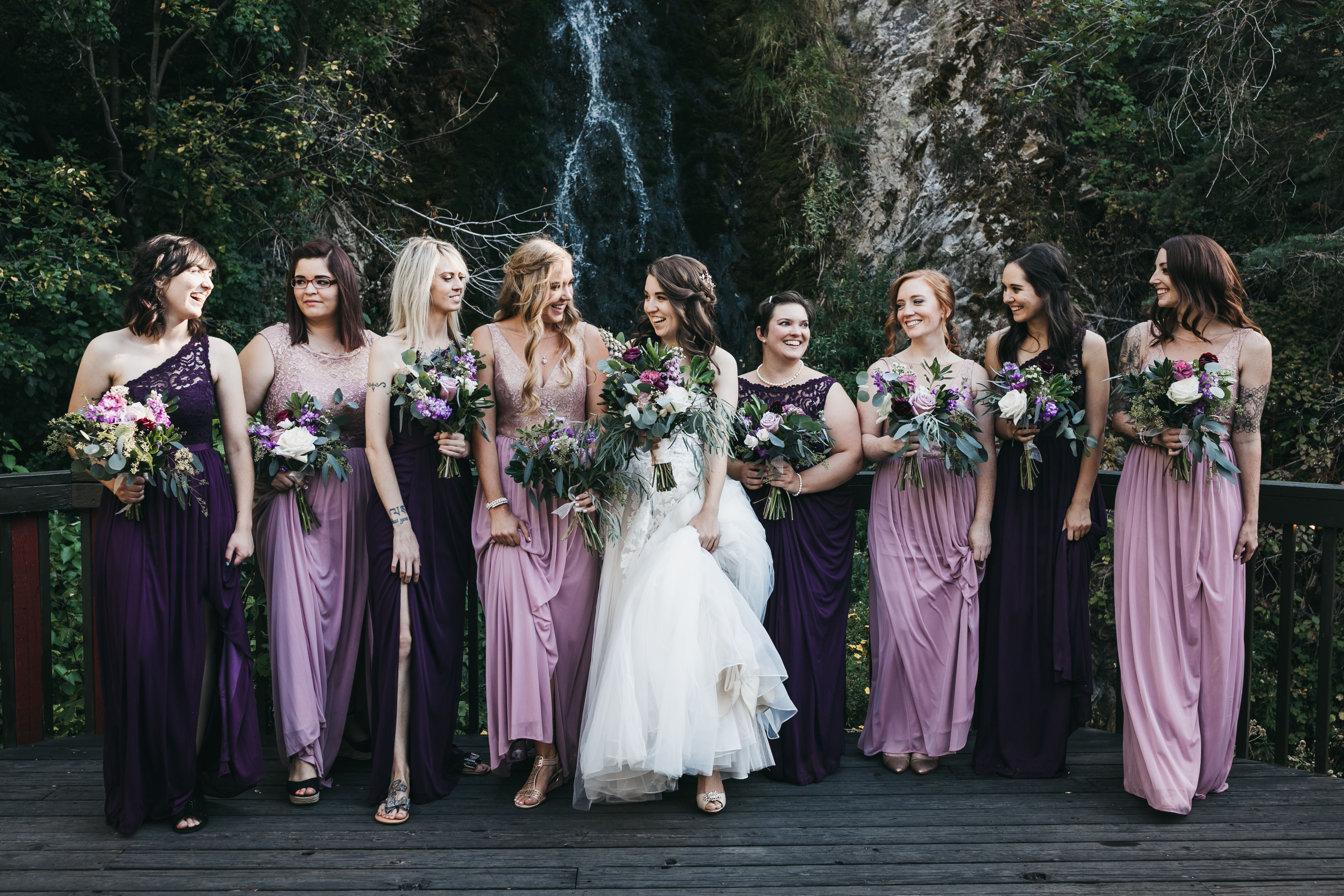Purple And Rose Gold Colors For Bridesmaid Dresses For An Early