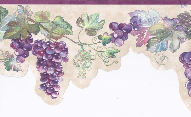 Kitchen Wall Murals Grapes Grape Wallpaper Mural Wallpaper Wallpaper Border
